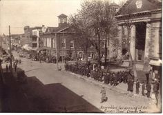 Crowd assembled in front of the Jefferson County Courthouse for the UMW Treason Trial, Charles Town, WV - 1922.