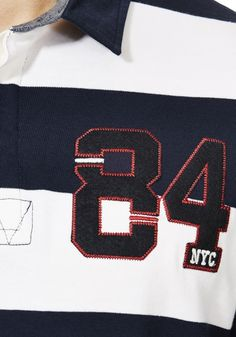 Applique jersey numbers with embroidery F+F tesco boys rugby top