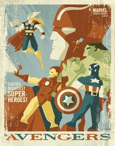 The Avengers Beautiful Modern Vintage Illustration by Tom Whalen