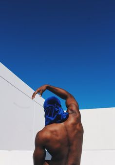 His body curves like a wave in the ocean. I want to mix elements of water either incorporated in the sky or matching his pose. Possibly keeping the white lines for angles. Black Man, Black Boys, Afro Art, Black Is Beautiful, Beautiful Scenery, Afro Punk, Blue Aesthetic, Black People, Portrait Photography