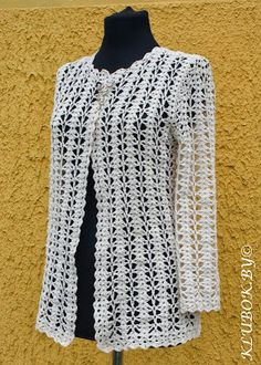 Crochet Knitting Handicraft: Jacket - photo tutorial and stitch diagram at site
