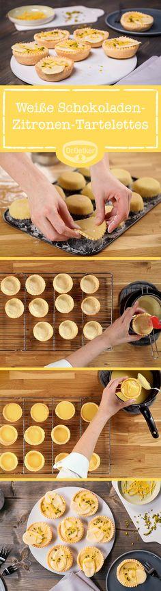 Weiße Schokoladen-Zitronen-Tartelettes: Kleine Knusperschalen, die mit einer fruchtig-säuerlichen Zitronencreme und einer weißen Schoko-Canache gefüllt werden