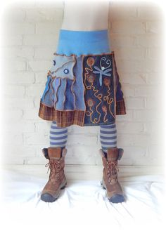 Meadow Dragonfly Upcycled Skirt Denim Blue by TheTopianDen on Etsy