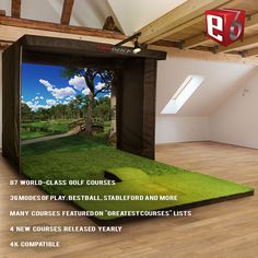Woodworking Course TruGolf Simulators proprietary Software features 87 World Class Courses, 36 Modes of Play, 4 New Courses Released Yearly, and it is Compatible. Home Golf Simulator, Indoor Golf Simulator, Woodworking Software, Woodworking Courses, Youtube Woodworking, Woodworking Ideas, Golf Man Cave, Men Cave, Golf Bar