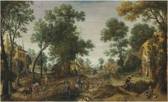 Sebastiaen Vrancx - A village landscape with travelers in a horse-drawn carriage on a path. 1st half of 17th century
