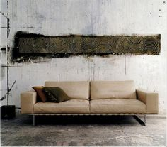graphic wall mural painting above couch.... cool