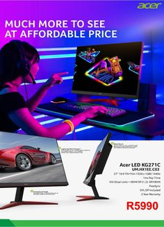 Acer Gaming Monitor Display x 1080 Full HD Response Refresh million- 1 max Year warranty Acer, Monitor, Gadgets, Gaming, Appliances, Videogames, Games