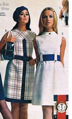 Penneys catalog 60s mod mini dress space age belt sleeveless shift white blue plaid solid models magazine vintage fashion style