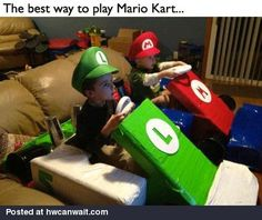 The best way to play Mario Kart  Oh.... I could've been such a cooler Mom had I only had Pinterest back in the day!!!  :(