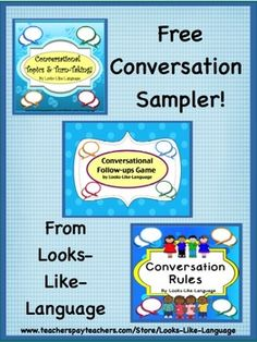 """Free! Try out some worksheets that co-ordinate with my conversation products. When you love it, don't forget to rate it! Be sure to check out the games and activities that teach the skills! Conversational Topics and Turn-Taking"""" Conversation Rules Conversational Follow-Ups"""