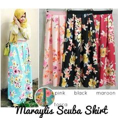 Maraylis Scuba Skirt  Material wedges scuba HQ tebal mantab kaku mengembang Size Fit up to L LP up to 96cm , length 100cm  full karet pinggang Price 125.000 #skirt #rok #fashion #hijab #hijaber #ootd #fashionista #flower #summer
