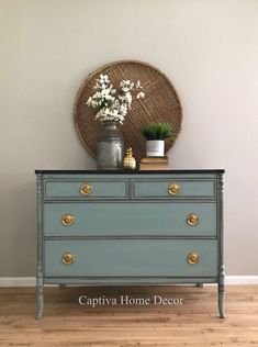 Vintage Mahogany Dresser, refinished with General Finishes Java Stain, Lacquer top, Annie Sloan Duck Egg Blue, Distressed and Dark Wax Body, Brass Handles #anniesloanpaintedfurniture
