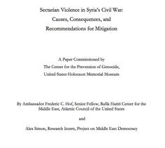 """March 25, 2013 - PAPER - ANALYSIS - GENOCIDE - SECTARIAN VIOLENCE - MASS ATROCITIES - HORRORS OF WAR - USHMM - """"...the United States Holocaust Memorial Museum expressed grave concern about the escalating violence in Syria and warned that the increasingly sectarian nature of that violence could, if unchecked, lead to genocide..."""""""