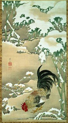 伊藤若冲「雪中雄鶏図」