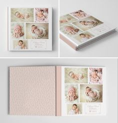 Photo Book Cover Template for Photographers, Baby Book Templates for Girls, Baby Photo Book Cover Template, Newborn Templates - Baby Design, Album Digital, Baby Photo Books, Baby Books, Girls Album, Album Cover Design, Foto Baby, Cover Template, Scrapbooking