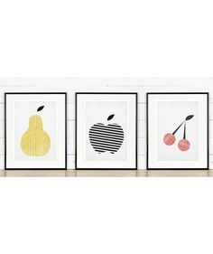 Fruit retro poster, kitchen art, apple, pear, cherry, minimalist design, A2 set, kitchen picture, art print, vintage poster, wall hanging