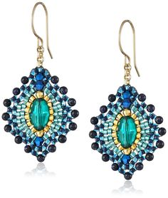 Amazon.com: Miguel Ases Blue Gold Stone Lotus Earrings: Jewelry