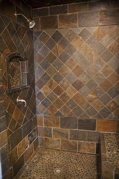 Slate Tile Bathroom Ideas Lovely New Slate Bathroom Shower Remodel, Bath Remodel, Slate Bathroom, Slate Shower Tile, Basement Bathroom, Slate Tiles, Concrete Bathroom, White Bathrooms, Bathroom Showers