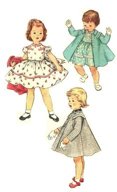 Toddler's One-Piece Dress and Coat: Dress features a small collar, back buttoned closing and puffed sleeves bound with bias at lower edge. Tie ends fasten in a bow in back. Retro Mode, Mode Vintage, Vintage Girls, Vintage Children, Vintage Outfits, Vintage Clothing, Kids Dress Patterns, Childrens Sewing Patterns, Vintage Dress Patterns