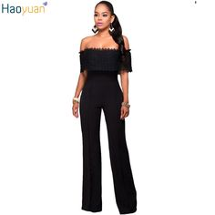 acde18b9794c DoreenBow New Fashion Black Lace Jumpsuit Long Pants Women Rompers Sexy  Club Ladies Off Shoulder Solid Elegant Female Jumpsuits