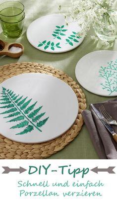 Weiße Teller und Porzellan bekommen neues Leben eingehaucht. Mit Porzellanmalstiften verzieren wir das Geschirr und verpassen ihm einen frischen Look >>> SO GEHT'S >>>