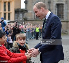 Prince William Duke of Cambridge meets local children during a visit to Stirling Castle on October 24 2016 in Stirling Scotland The Duke of Cambridge...