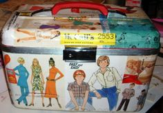 Cover a case (or box) with pattern envelope pictures to store sewing supplies or fabric, etc.