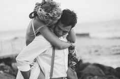 Romantic young boho laid back wedding on the beach