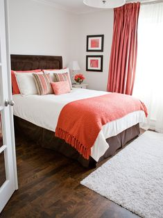 Cool Coral Bedding Twin look Montreal Transitional Bedroom Decorating ideas with Accent Pillows bedside table bright and cheery brown bed skirt Brown Headboard crown molding Orange Bedroom Decor, Coral Bedroom, Guest Bedroom Decor, Bedroom Colors, Coral Bedding, Bedroom Ideas, Guest Room, Bedroom Designs, Neutral Bedding