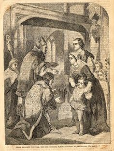 """Cassell's English History - """"QUEEN ELIZABETH WYDVILLE TAKING SANCTUARY AT WESTMINSTER"""" - Engraving - 1857"""