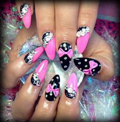 Black & pink almond nails