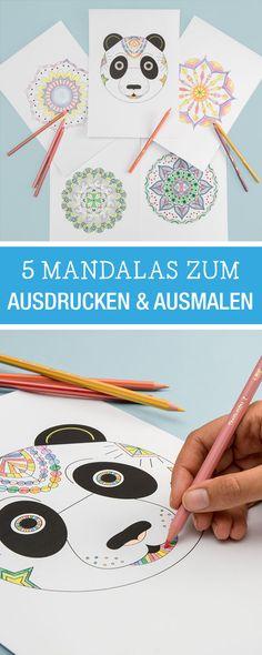 Hobby zur Entspannung: Zusammen mit unserem Partner BIC Kids haben wir fünf Mandalas entworfen zum Ausmalen, kostenlose Vorlage / free printable: five mandalas, relax with colouring via DaWanda.com
