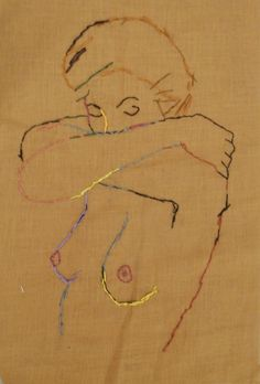 Embroidered nude on ochre cotton 2014 by Andrew Orton