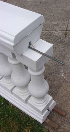 Baluster railing molds for residential and commercial projects. History Stones railing molds and baluster molds are all made in the US. Door Gate Design, Facade Design, Wall Design, Cobblestone Patio, Colonial House Exteriors, House Outside Design, Balcony Railing Design, Stepping Stone Molds, Concrete Porch