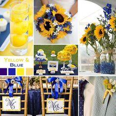 Color scheme ideas yellow and blue sunflower, lemons, burlap