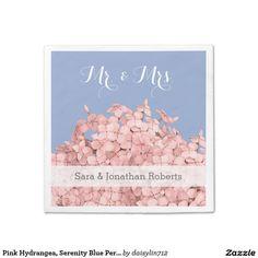 Pink Hydrangea, Serenity Blue Personalized Wedding Standard Cocktail Napkin
