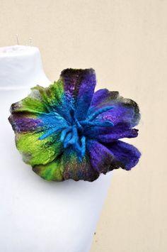 Felted brooch  flower brooch felt nuno by AleksandrabWiniarska