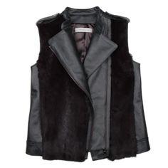 @Gerard Darel Veste motard sans manches, lapin et cuir 422 $ ( rég. 1 215 $ ) Sleeveless motorcycle vest, rabbit fur and leather $422 ( reg. $1,215 ) #WinterSale #OGILVY