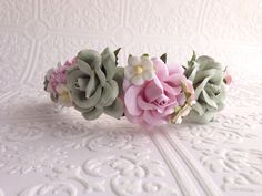 The Pink and Sage Goddess Floral Crown on Etsy, $24.99