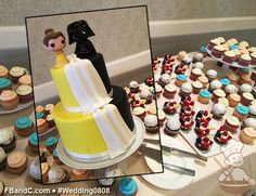 Design W 0808 | Fondant Belle and Batman Cake and Dessert Bar featuring Fresh Fruit Tartlets, Cupcakes | Custom Quote