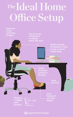 Read ahead for a foolproof guide to solid office ergonomics — your back and neck can thank us later. Office Organization At Work, Home Office Setup, Home Office Chairs, Desk Setup, Home Office Design, Office Ideas, Office Spaces, Office Inspo, Desk Layout