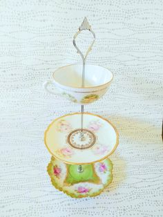 White and Pink Roses with green 3 Tier - Tea Cup Cake Stand Jewelry Holder Trinket Plate Upcycled Vintage Tea Sets