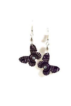 Boucles d'oreilles pendantes légères en aluminium et métal argenté - Papillons : Boucles d'oreille par cap-and-pap