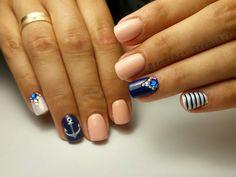 Nails * nail art * blue * peach * sailor * anchor