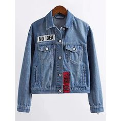 Women Casual Denim Letter Print Lapel Jacket (€42) ❤ liked on Polyvore featuring outerwear, jackets, blue, evening jackets, lapel jacket, long sleeve jacket, collar jacket and blue jackets