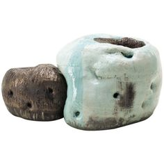 Ceramic Stool. Glazed ceramic in traditional grayish blue powdered celadon and copper. Lee Hun Chung (Artist)