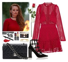 """Cheryl Blossom Red Dress Outfit"" by itsnotlina ❤ liked on Polyvore featuring Givenchy, Chanel, Illamasqua, Delfina Delettrez, Hanky Panky, self-portrait and Fabrizio Viti"