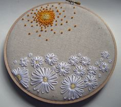 Embroidery Hoop Art Field of Daisies Wall Art via Etsy.