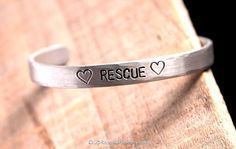 Stamped Jewelry // Silver Cuff Bracelet // Gifts for Pet Lovers // Dog Rescue // Animal Rescue // Statement Jewelry // Fashion Jewelry