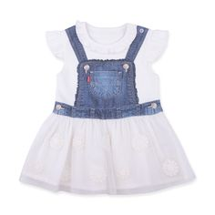 This item starts shipping in May Made from skin-friendly organic cotton Comfortable clothing, no irritating tags or seams Also available in white colour For babies in siz… Printed Denim, Comfortable Outfits, Flower Prints, Overall Shorts, White Flowers, Organic Cotton, Overalls, Girl Outfits, White Dress